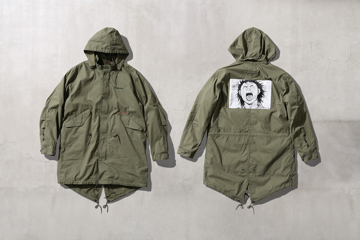 Akira Supreme Fishtail Parka with woven patch on back green