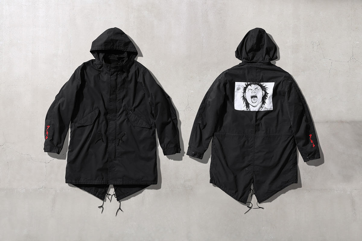 Akira Supreme Fishtail Parka with woven patch on back black