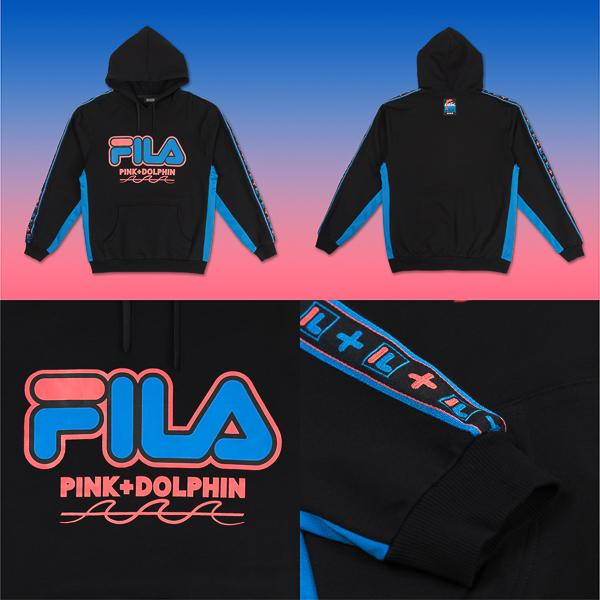 FILA x Pink Dolphin collaboration heritage wave track hoodie