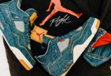 Foto Sneakers Sepatu Air Jordan 4 x Levi's Denim Rilis Terbaru 2018