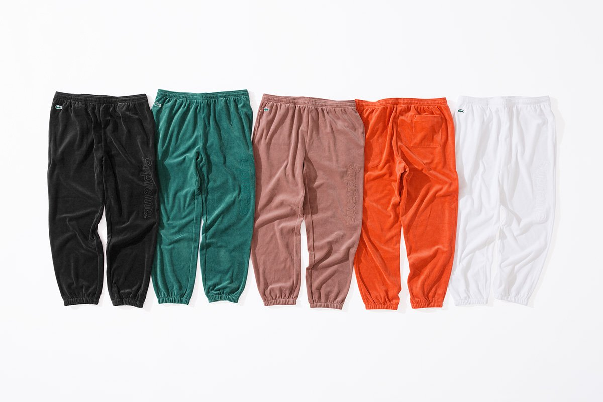 Supreme x Lacoste Velour Track Top, Polo, and Track Pant 2018 - Harga & Rilis