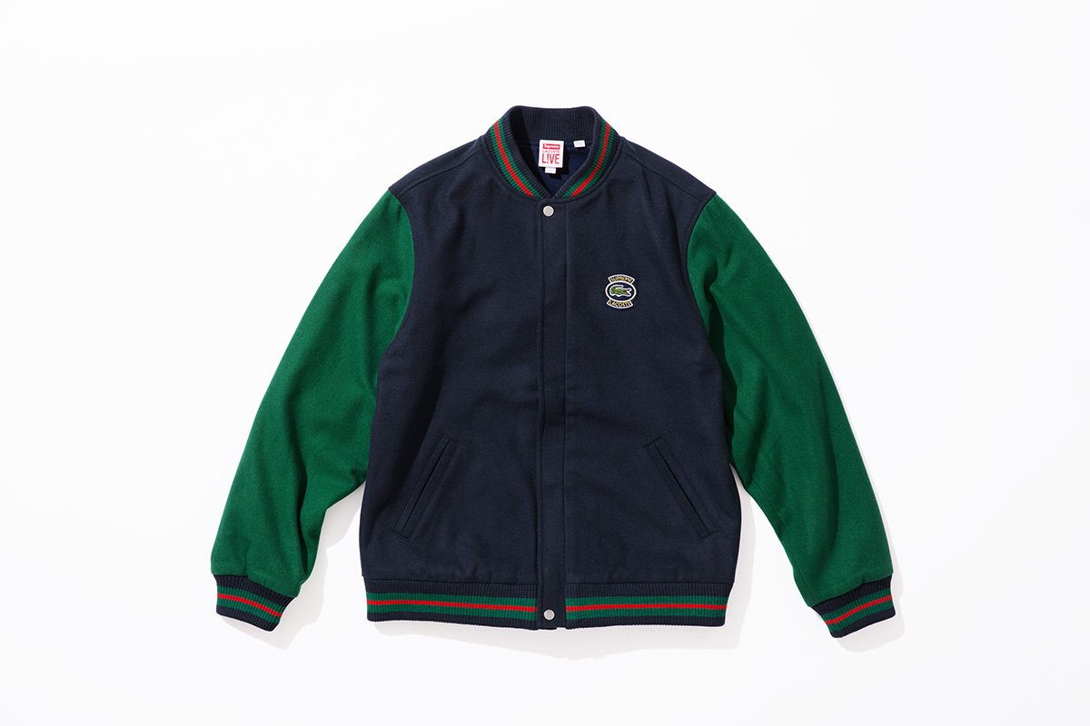 Jaket Varsity Supreme x Lacoste 2018 - Supreme Lacoste Varsity Wool Jacket 2018 - Supreme Terbaru