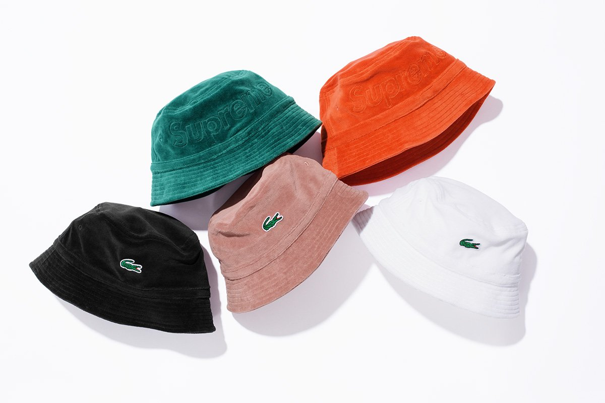 Topi Supreme x Lacoste 2018 - Velour Bucket Hat